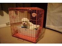 "USED Dog Cage 36"" Pink"