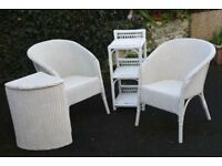 Lloyd Loom style white wicker furniture.Two chairs, shelf unit and corner storage box/laundry basket