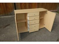 Beech Effect Sideboard Office Furniture, Two side cupboard and central sliding draws.