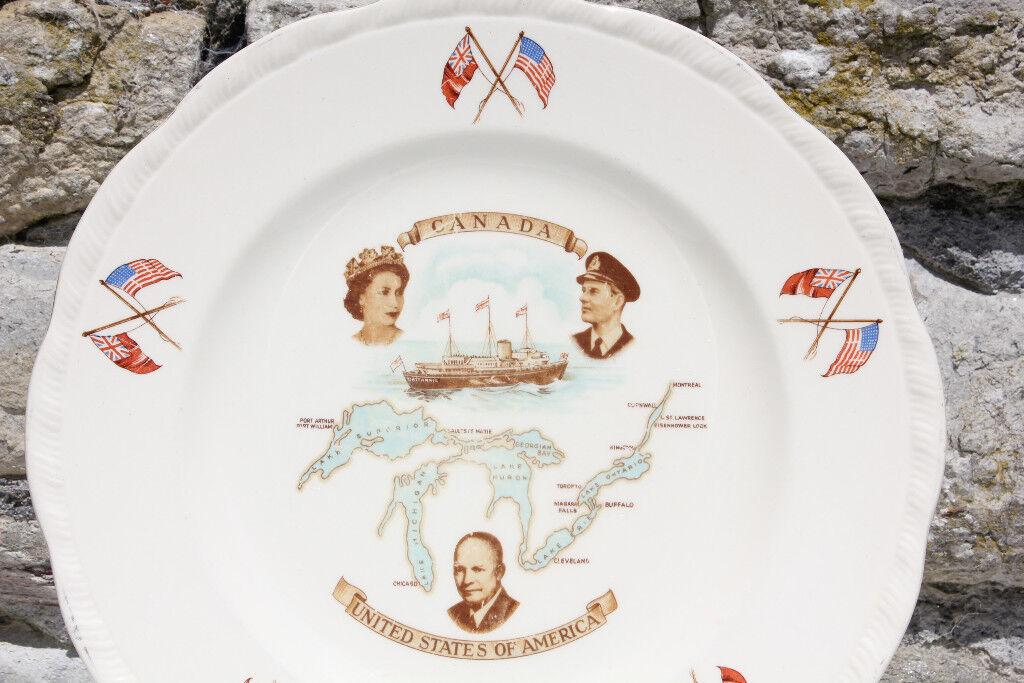 1959 Alfred Meakin Plate Opening of the Saint Lawrence Seaway Canada USA Britannia Nautical Maritime