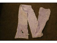 Purple hand knitted scarves
