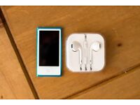 iPod Nano 7th Generation 16GB, Blue with Brand New EarPods + Lightning Cable