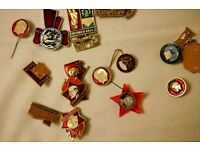 A unique set of Iconic Soviet Vintage BADGES / PINS - collectibles - CHARITY SALE