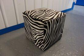 Designer Velvet Square Seat - Black & White Zebra Print Good Condition