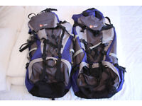 Two Hi Gear Tibet 65 +10 Litre Rucksack In Blue and Grey