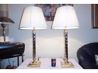 LARGE PAIR OF VINTAGE SOLID BRASS AND CHROME TABLE LAMPS WITH VINTAGE SHADES