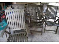 Teak reclining garden chairs x6