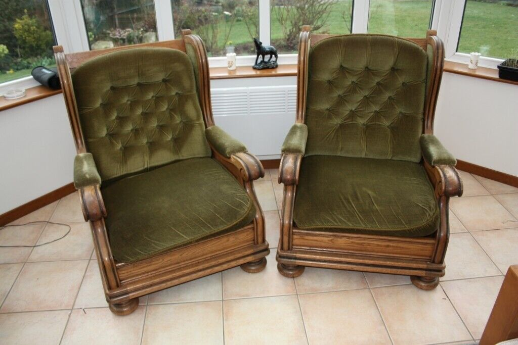 2 High Back Wooden Arm Chairs With Cushions In Stock Essex Gumtree