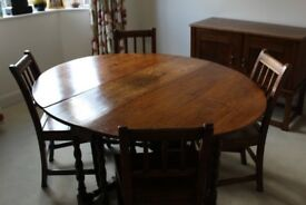 Antique Oak drop leaf gate leg table & chairs