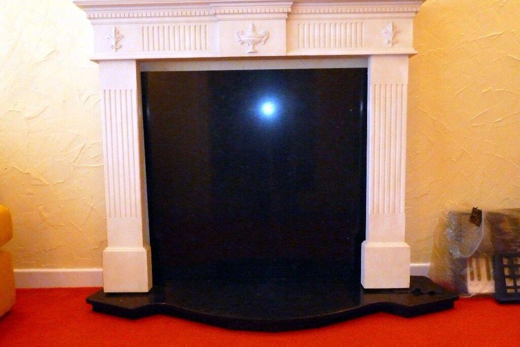 Black marble hearth