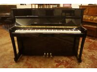 New upright piano in high gloss ebony with matching stool and free UK delivery