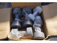 V-Fit, Vinyl Dumbbells - 3 pairs boxed.