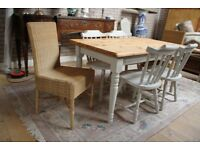 shabby chic pine table and six chairs