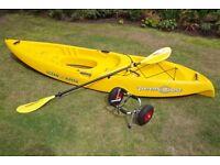 Ocean Kayak Peekaboo sit on top kayak with paddle and trolley