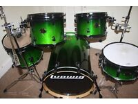 Ludwig Element Emo Green Fade Lacquered 5 Piece Drum Kit DRUMS ONLY