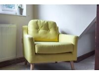 Beautiful Made Rufus Mustard Yellow Armchair - 3 month life - £275