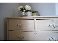 Vintage, Shabby Chic, Old, Antique Oak Chest of Drawers - Painted in Annie Sloan 'Country Grey'