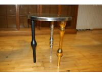 Modern Style Round Metal Sides Table with Metal Gold Silver Wooden Legs Good Condition