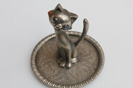 Vintage Silver Plate Funky Cat Ring Tray, Ring Tree, Jewellery Holder Jewelry Tray