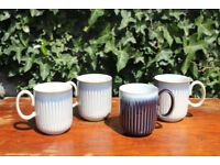 Four Large Stylish Denby Linen Fluted Coffee / Tea Mugs / Cups