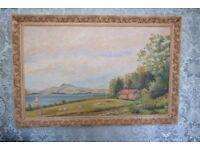 Vintage Scottish Oil Painting of Ben Lomond from Inchmurrin