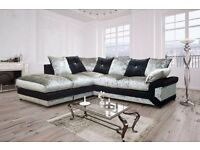 HIGH QUALITY == BRAND NEW DOUBLE PADDED DINO CRUSHED VELVET CORNER SOFA OR 3 AND 2 SOFA