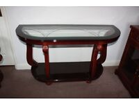 Large Mahogany glass italian side table