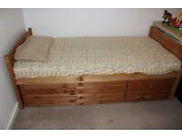 SINGLE BED WITH PULL-OUT BED AND STORAGE