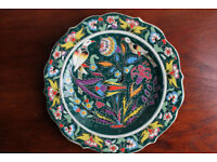 Stunning Hand Decorated Decorative Plate Turkish Bird Design Kutahya Vintage Display Plate