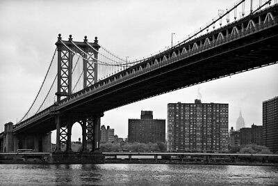 Manhattan Bridge in New York City NYC B&W Photo Art Print Poster 18x12