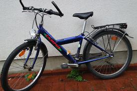 """blue boys bike, 60cm frame, 24""""wheels, shimano 7 speed gears, dynamo-light, rear rack."""