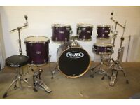 Mapex M Series Violet Wood Grain Lacquer 6 Piece Drum Kit (22in Bass) + Stands + Stool + Cymbal Set