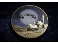 Gold Merry Christmas and Happy New Year Coin