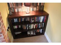 Solid hardwood bookcase bookshelf unit office living room storage - good condition