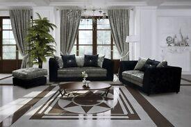 BUY -- |* Special Offer *| - Brand New Large -ITALIAN Style Orignal Crush Velvet Sofas + QUICK DROP
