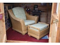 wicker arm chair and foot stool