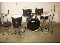 Mapex M Series Matt Black Full 5 Piece Drum Kit (22in Bass) + All Stands + Stool + Cymbal Set