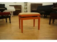 New Italian adjustable piano stool in cherry wood