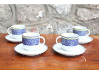 Set of 4 Italian Tognana Coffee Cups & Saucers Porcelain Espresso Cup