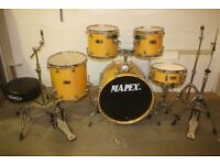 Mapex Pro M Series Natural Lacquered 5 Piece Full Drum Kit (22in Bass) Hardware + Sabian Cymbals