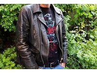 ***MEN'S VINTAGE 1980s FRINGED REAL LEATHER BIKER METALHEAD JACKET – LARGE***