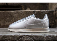 Nike Classic Cortez Leather SILVER Size UK 4-5-6