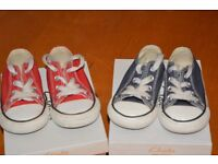 Converse boys trainers red and blue ( two pairs as we have twin boys). Lace up, size 5 (Baby size).