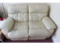 Cream Leather Sofa Two Seater Settee with double recliners