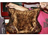 women's replica fur hand bag brown and beige