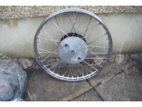 "Triumph / BSA Rebuilt Front Wheel, Stainless 21"" Rim and spokes,"