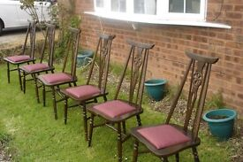 VINTAGE SET OF 6 DINNG CHAIRS EITHER OLD CHARM OR ERCOL NOT SURE WHICH