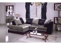 LOWEST PRICE!DOUBLE PADDED CRUSH VELVET DYLAN SOFA IN EXOTIC BLACK/SILVER COLOURS- GET 3+2 OR CORNER