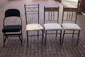 Various Upholstered Metal Chairs