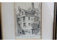 Antique Drawing Sketch John Knox's House by K.V. Forbes 1926 Edinburgh Scotland Reformation Picture